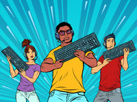 professional gamers with a keyboard. Computer games industry. black guy in the foreground