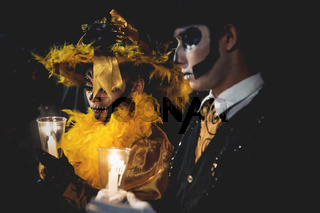 Event for day of the dead, catrina couple with skull make up, Merida, Mexico