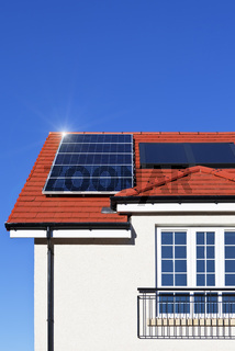House roof covered with solar panels