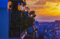 Urban Sunset Scene, Athens, Greece