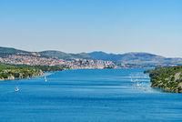 View from the Sibenik Bridge to canyon of Krka River. Adriatic Sea. North Dalmatia, Croatia. Coastline image