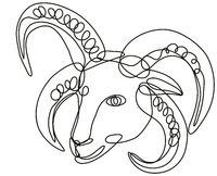 Head of Manx Loaghtan Sheep Continuous Line Drawing