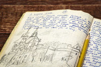 vintage travel journal  on a rustic picnic table