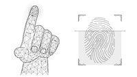 Fingerprint identification concept. Biometric data low poly design. Polygonal vector illustration of a hand pressing with an index finger and a fingerprint.
