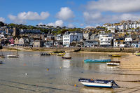 ST IVES, CORNWALL, UK - MAY 13 : View of boats at St Ives, Cornwall on May 13, 2021. Unidentified people