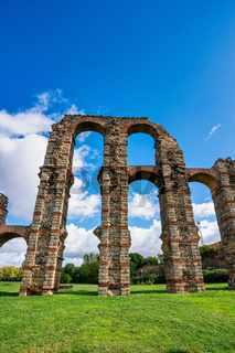 The Acueducto de los Milagros, Miraculous Aqueduct in Merida, Extremadura, Spain
