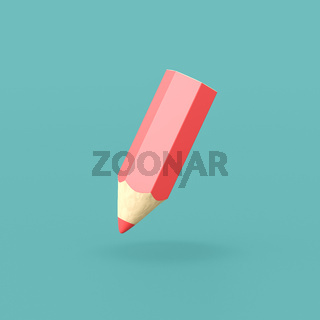 Funny Red Crayon on Blue Background