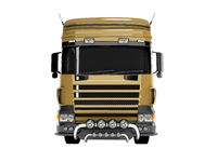 3D rendering brown road dump truck front view on white background no shadow