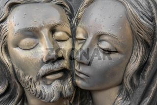 Bronze Statue of Jesus and Virgin Mary