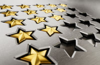 Rating stars table with 5,4,3,2,1 stars. 3D illustration