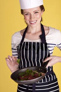 Beautiful female chef.