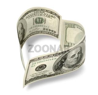 Heart shaped money