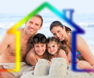 Family on a beach with colored house illustration