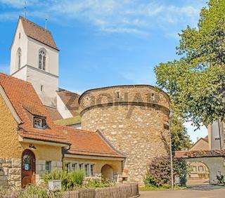Reformierte Kirche, Stapferhüsli und Archivturm,  Brugg, Schweiz