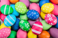 Many colorful easter eggs