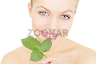 Beautiful girl holding a twig isolated on a white background