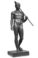 Ancient naked strong man sculpture. Young male athlete with spear statue isolated on white background