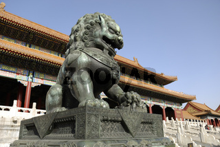 Lion Sculpture at the Forbidden City in Beijing