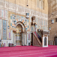 Engraved Mihrab and wooden Minbar - Platform - at the Mosque and Madrassa of Sultan Hassan, Cairo, Egypt