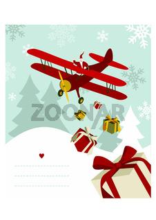 Santa Claus in airplane