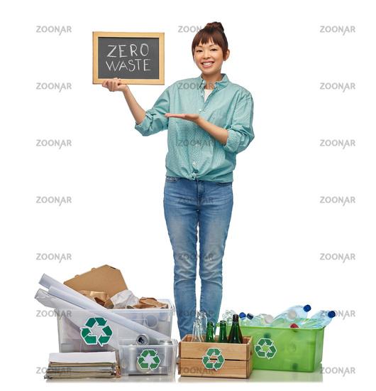 asian woman with zero waste words on chalkboard