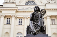 Warsaw, Poland, Nov 15, 2018: Nicolaus Copernicus Monument in front of Staszic Palace, seat of the Polish Academy of Sciences