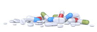 Pile of pills, tablets and capsules 3D
