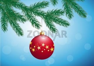 Tannenzweig mit Weihnachtskugel