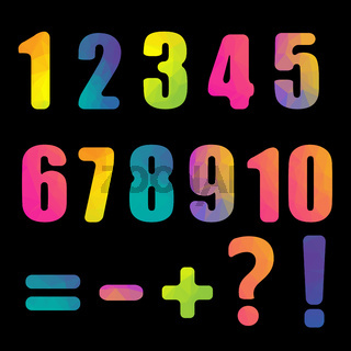 Bright Numbers With Black Background