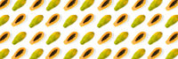 Fresh ripe papaya background on white backdrop. Tropical abstract background. Top view. modern