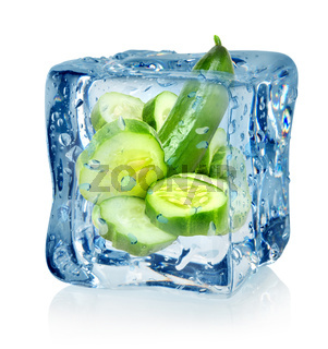 Ice cube and cucumber