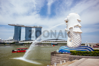 Marina Bay Sands and Merlion Display in Singapore