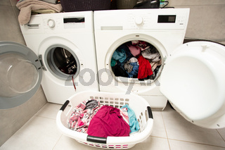 Huge amount of laundry drying in the room