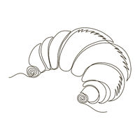 One Continuous Line Drawing. Fast Food Doodle. Modern Minimalistic Style. Sweet Croissant .