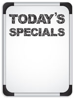 Whiteboard with Today's Specials Message written with Chalk