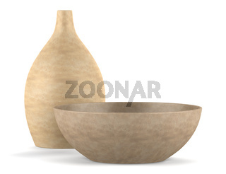 brown ceramic vase and bowl isolated on white background