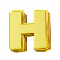 Yellow font Letter H 3D
