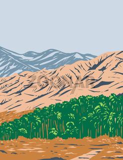 San Bernardino Mountains Mojave Desert and Northwestern Colorado Desert Within Sand to Snow National Monument California United States WPA Poster Art