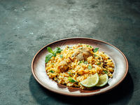 Pakistani chicken biryani rice, copy space