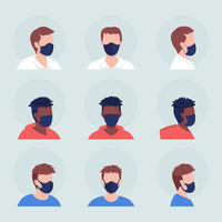 Different men wearing mask semi flat color vector character avatar set