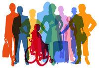 Silhouetten verschiedener Menschen als Bevölkerung und Kunden