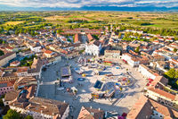 Town of Palmanova hexagonal square fun park aerial view