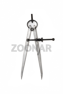 Industrial metallic compass Work tool isolated on white background