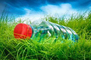Water bottle on the grass.