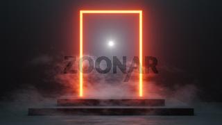 neon light portal with smoke