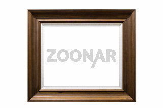 brown wooden picture frame isolated