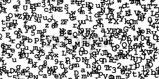 Random black digits and letters on white background