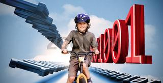 Little boy on a bike with binary code
