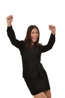 Erfolgreiche Frau reisst die Arme hoch