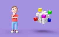 Young 3D Cartoon Character and Combining Cubes on Purple Background